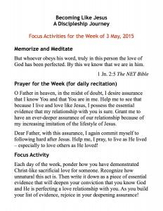 discipleship focus handout 5:3